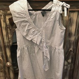 Anthropologie pinstripe ruffle tank size Medium